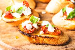 Bruschetta with sundried tomatoes Royalty Free Stock Photography