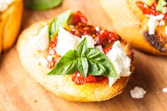 Bruschetta with sundried tomatoes Stock Images