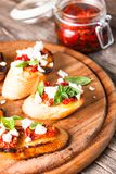 Bruschetta with sundried tomatoes Royalty Free Stock Images