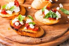 Bruschetta with sundried tomatoes Stock Photo