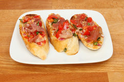 Bruschetta on a tabletop Royalty Free Stock Photo