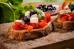 Bruschetta with Tomato Stock Photo