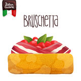 Bruschetta with tomato, bacon and basil. Stock Photography