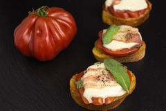 Bruschetta with tomato and bacon Stock Image
