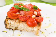 Bruschetta with tomato and basil Stock Photo