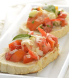 Bruschetta With Tomato And Basil Stock Photography