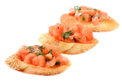 Bruschetta with tomato and basil Royalty Free Stock Photography