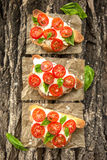 Bruschetta with tomato, basil and cheese. Italian food. bruschetta with tomato, basil and cheese Royalty Free Stock Photography