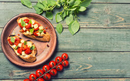 Bruschetta with tomato Royalty Free Stock Images