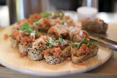 Bruschetta with tomato and cheese Stock Image