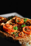 Bruschetta with tomato and garlic Royalty Free Stock Photography