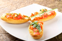 Bruschetta with tomato, garlic and olive oil Royalty Free Stock Photo