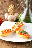 Bruschetta with tomato, garlic and olive oil Stock Image