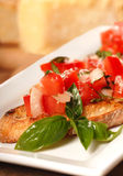 Bruschetta with tomato, mozzarella and basil Stock Image