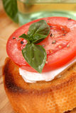 Bruschetta with tomato, mozzarella and basil Stock Images