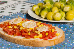 Bruschetta with tomato, onion and corn Stock Photos