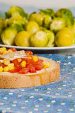 Bruschetta with tomato, onion and corn Stock Photography