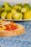 Bruschetta with tomato, onion and corn Stock Photography
