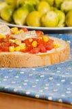 Bruschetta with tomato, onion and corn Royalty Free Stock Photo