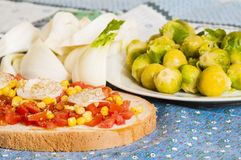Bruschetta with tomato, onion and corn Royalty Free Stock Images