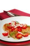 Bruschetta with tomato, radish and dill Stock Photo