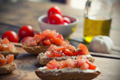Bruschetta. With tomato on Toasted Baguettes Stock Images