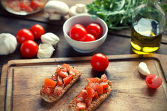 Bruschetta. With tomato on Toasted Baguettes Stock Photography
