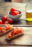 Bruschetta. With tomato on Toasted Baguettes Royalty Free Stock Images