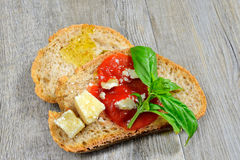 Bruschetta and tomatoe sauce Stock Photos