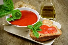 Bruschetta and tomatoe sauce Royalty Free Stock Images