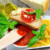 Bruschetta and tomatoe sauce Stock Images