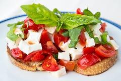 Bruschetta with tomatoes, basil and mozzarella cheese. Home made bruschetta with tomatoes, basil and mozzarella cheese Stock Images