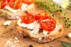 Bruschetta with tomatoes and cheese Royalty Free Stock Photos