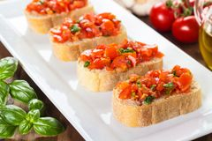 Bruschetta with tomatoes Stock Photos