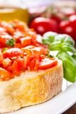 Bruschetta with tomatoes Royalty Free Stock Images