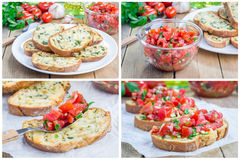 Bruschetta with tomatoes, herbs and oil on toasted cheese bread, collage. Bruschetta with tomatoes, herbs and oil on toasted garlic cheese bread, collage Royalty Free Stock Photos