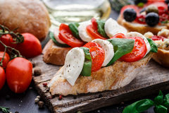 Bruschetta with tomatoes, mozzarella and basil Royalty Free Stock Images