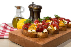 Bruschetta with tomatoes and mozzarella cheese Royalty Free Stock Image