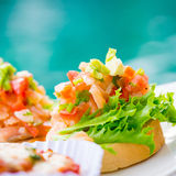 Bruschetta topped with tomato Royalty Free Stock Photography