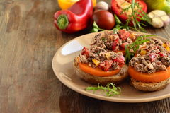 Bruschetta with tuna, tomatoes, sweet peppers Royalty Free Stock Photography
