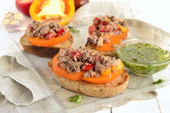 Bruschetta with tuna, tomatoes, sweet peppers with sauce Royalty Free Stock Photo