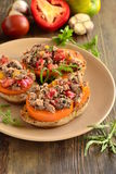 Bruschetta with tuna, tomatoes and sweet peppers Stock Photography