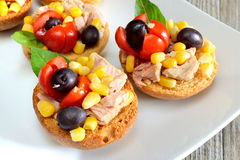 Bruschetta  tunny and corn Stock Photos