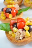 Bruschetta  tunny and corn Stock Image