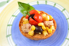 Bruschetta  tunny and corn Stock Photography