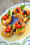 Bruschetta  tunny and corn Royalty Free Stock Images