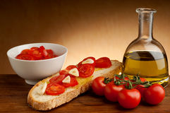 Bruschetta typical italian snack Stock Images