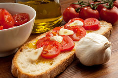 Bruschetta typical italian snack Royalty Free Stock Images
