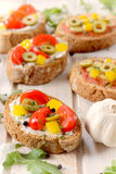 Bruschetta vegetarian Stock Photography