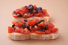 Bruschetta with violet basil Stock Photos